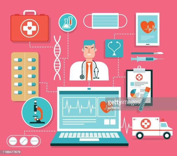 illustrations, cliparts, dessins animés et icônes de santé - centre médical
