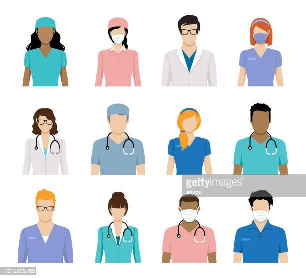 healthcare worker avatars and doctor avatars - stethoscope stock illustrations