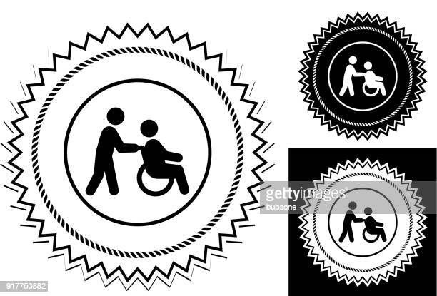 healthcare worker walking with senior man wheelchair. - disability stock illustrations, clip art, cartoons, & icons