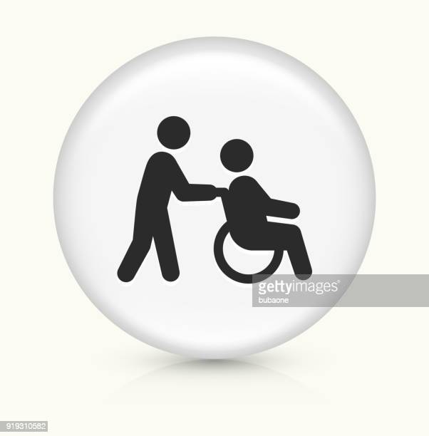healthcare worker walking with senior man wheelchair. - assistive technology stock illustrations, clip art, cartoons, & icons
