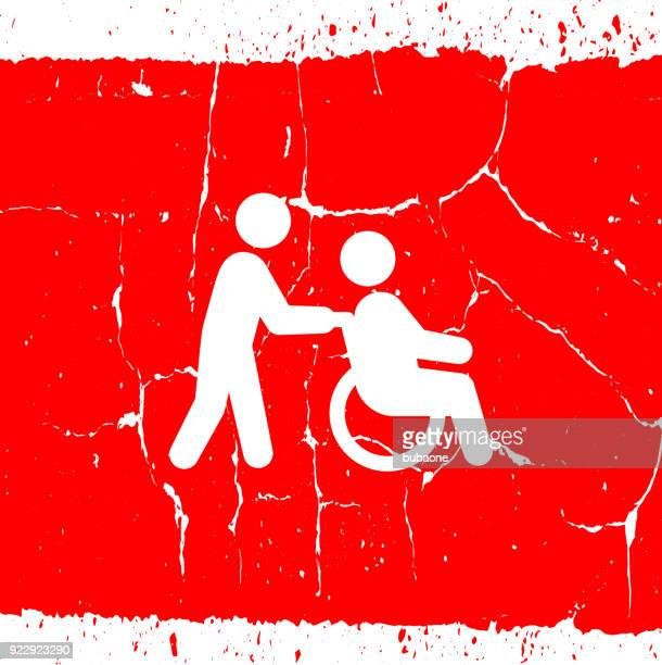healthcare worker walking with senior man wheelchair. - disabled access stock illustrations, clip art, cartoons, & icons