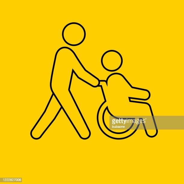 車椅子のアイコンを持つ医療従事者 - ホスピス点のイラスト素材/クリップアート素材/マンガ素材/アイコン素材