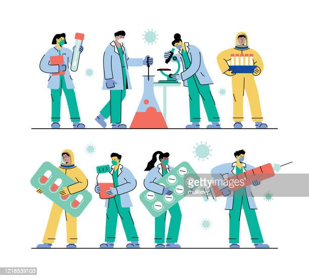 healthcare workers set - laboratory flask stock illustrations
