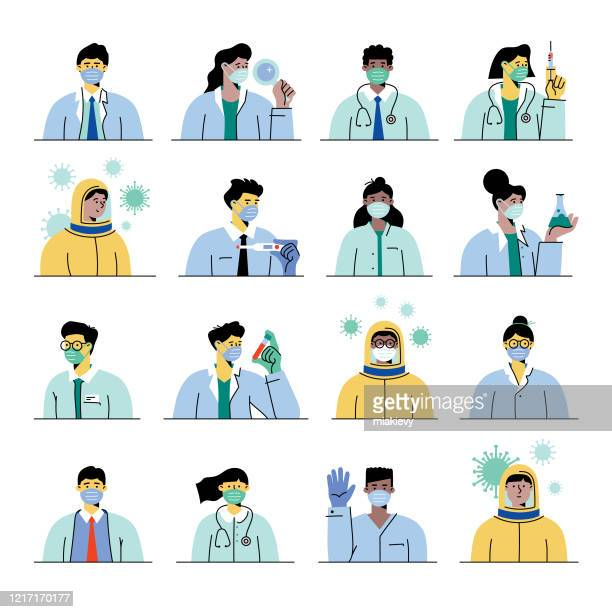 ilustraciones, imágenes clip art, dibujos animados e iconos de stock de trabajadores sanitarios con máscaras - trabajador sanitario