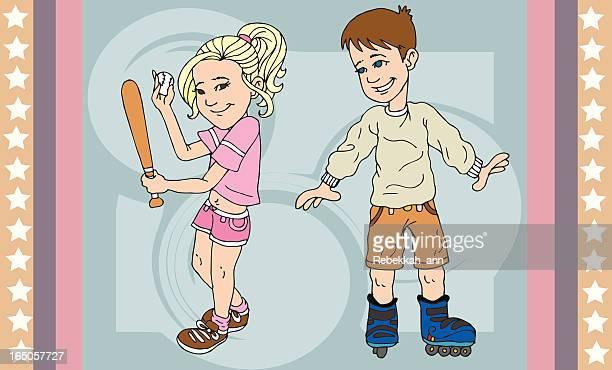ilustrações de stock, clip art, desenhos animados e ícones de crianças saudáveis activa - nicho