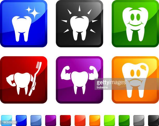 Healthy and Cavity Teeth royalty free vector icon set stickers
