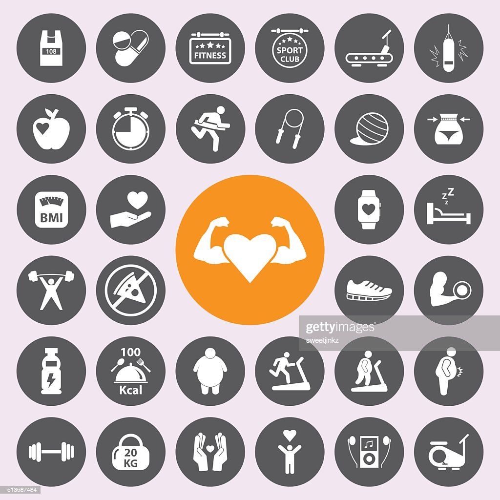 healthy and fitness icon set.Vector.