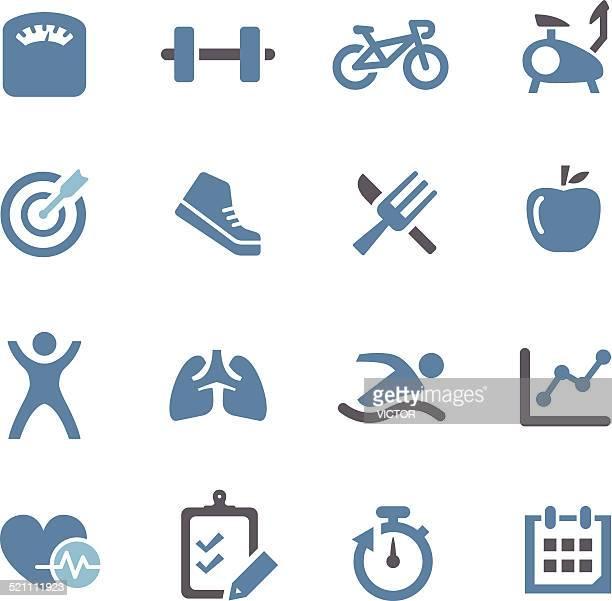 ilustraciones, imágenes clip art, dibujos animados e iconos de stock de iconos de salud y fitness-conc. de la serie - entrenamiento de fuerza