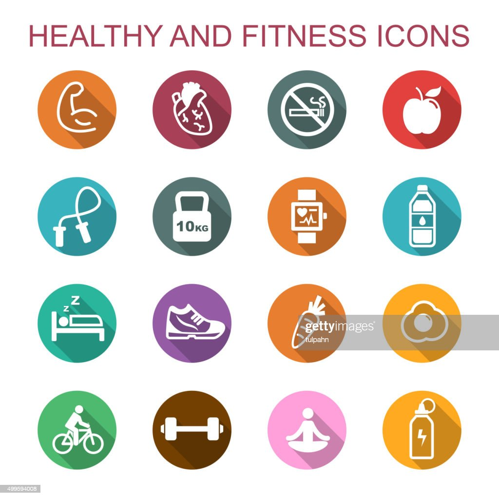 healthy and fitness long shadow icons