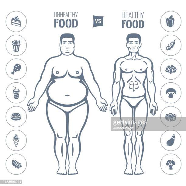 healthy and junk eating. slim and fat man - body care stock illustrations