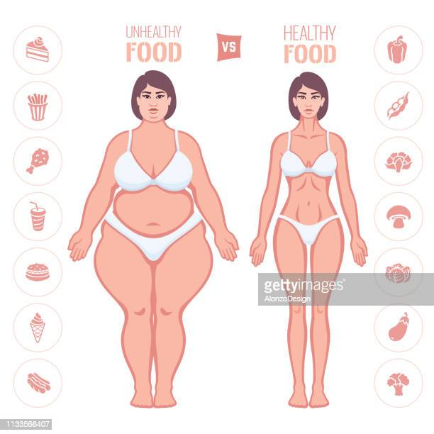 healthy and junk eating. slim and fat woman - fat female cartoon characters stock illustrations, clip art, cartoons, & icons