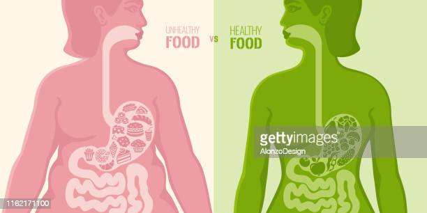 healthy and unhealthy food - obesity icon stock illustrations