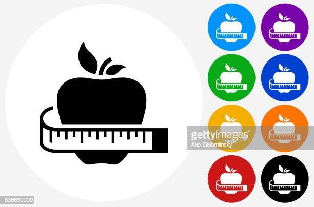 healthy apple icon on flat color circle buttons - tape measure stock illustrations, clip art, cartoons, & icons