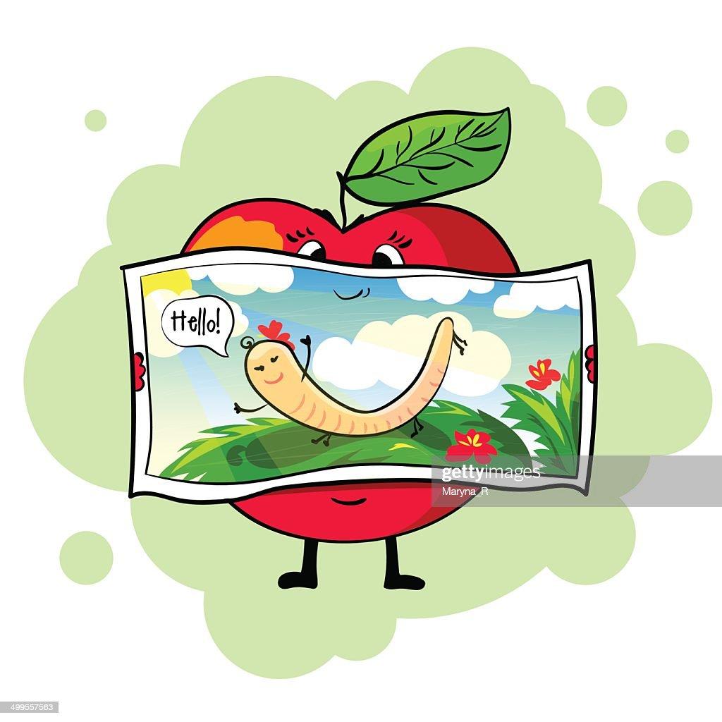 Healthy apple. Postcard.