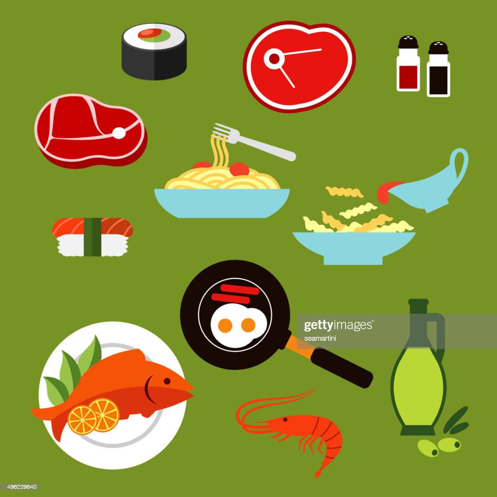 Healthy breakfast and lunch dishes flat icons