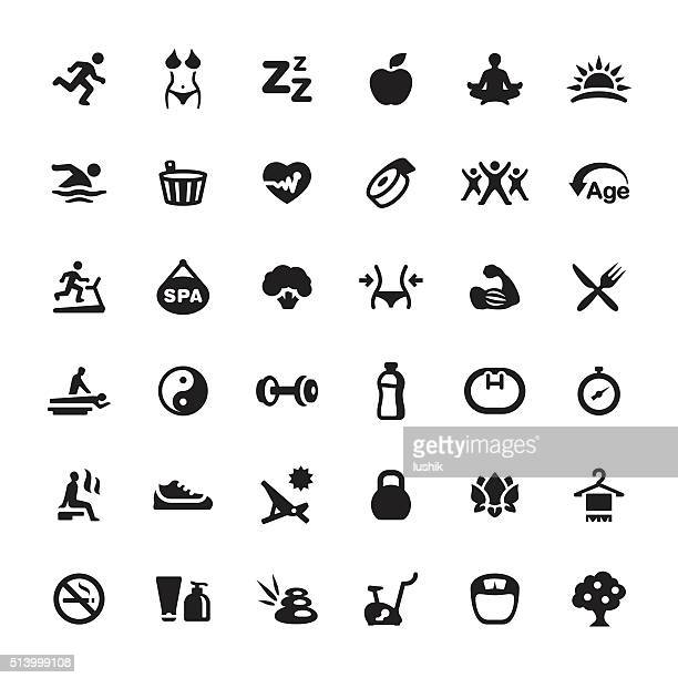 Healthy Eating And Lifestyle vector symbols and icons