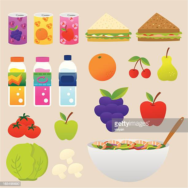 healthy food and drink set - cheddar cheese stock illustrations, clip art, cartoons, & icons