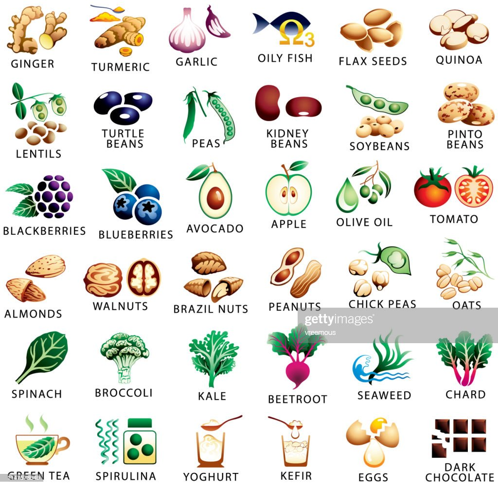 Healthy food and superfoods color icons set : stock illustration