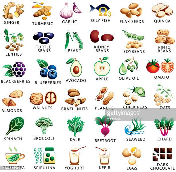 healthy food and superfoods color icons set - breakfast cereal stock illustrations, clip art, cartoons, & icons