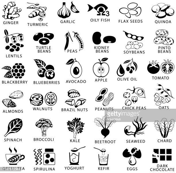 healthy food and superfoods single color black icons set - nut food stock illustrations
