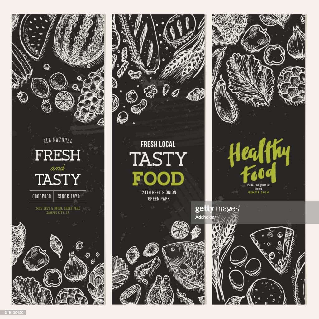 Healthy food blackboard banner collection. Good nutrition backgrounds. Linear graphic. Hero image. Vector illustration