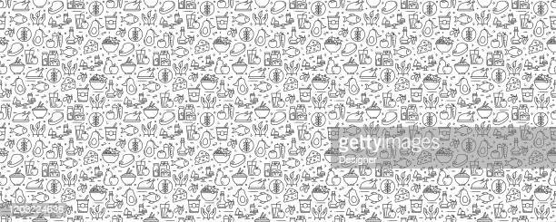 ilustrações de stock, clip art, desenhos animados e ícones de healthy food concept seamless pattern and background with line icons - comida e bebida