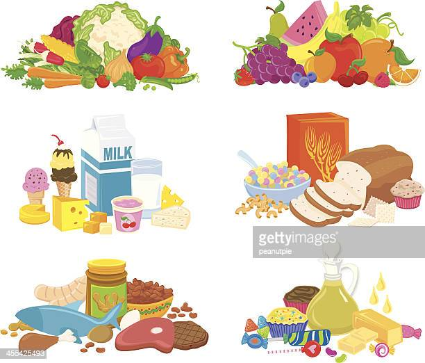healthy food groups - breakfast cereal stock illustrations, clip art, cartoons, & icons