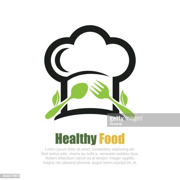 ilustraciones, imágenes clip art, dibujos animados e iconos de stock de icono de comida saludable - gorro de chef