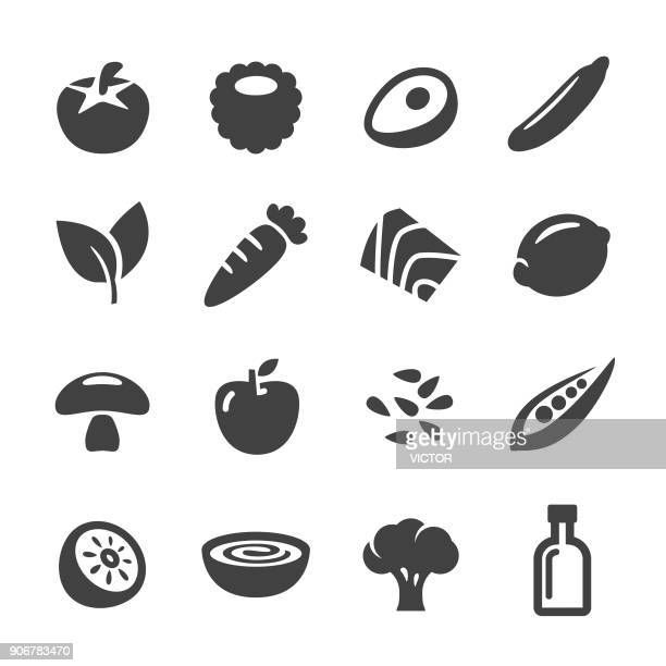 healthy food icons - acme series - broccoli stock illustrations, clip art, cartoons, & icons
