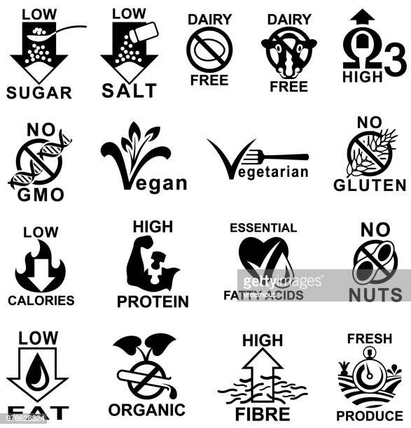 healthy food label icons. - calcium stock illustrations, clip art, cartoons, & icons