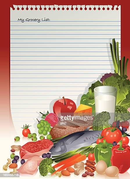 healthy food staples on grocery list vector - shopping list stock illustrations, clip art, cartoons, & icons
