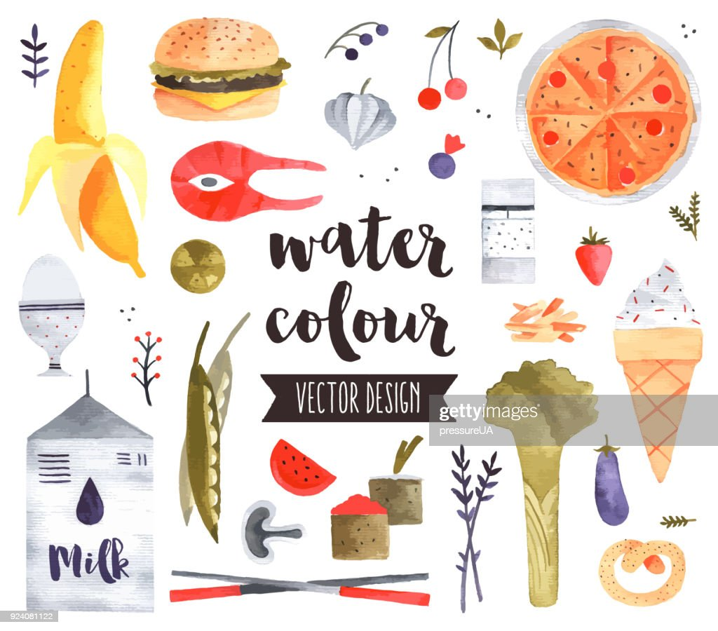 Healthy Food Watercolor Vector Objects
