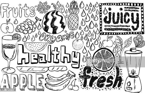 healthy fruit sketch collection - juicy stock illustrations, clip art, cartoons, & icons