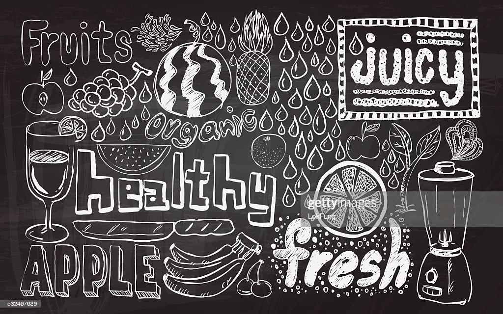 Healthy fruit sketch collection : stock illustration