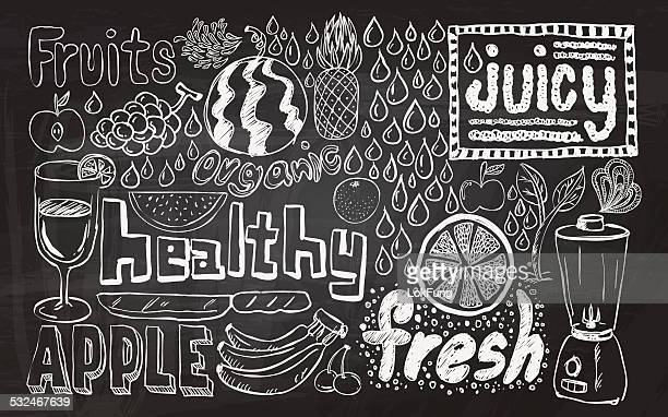 healthy fruit sketch collection - juice drink stock illustrations, clip art, cartoons, & icons