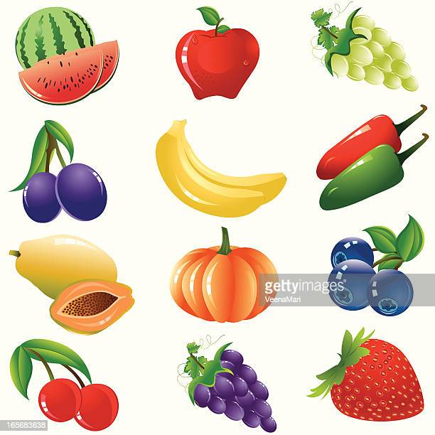 healthy fruits and vegetable icon set - blueberry stock illustrations, clip art, cartoons, & icons