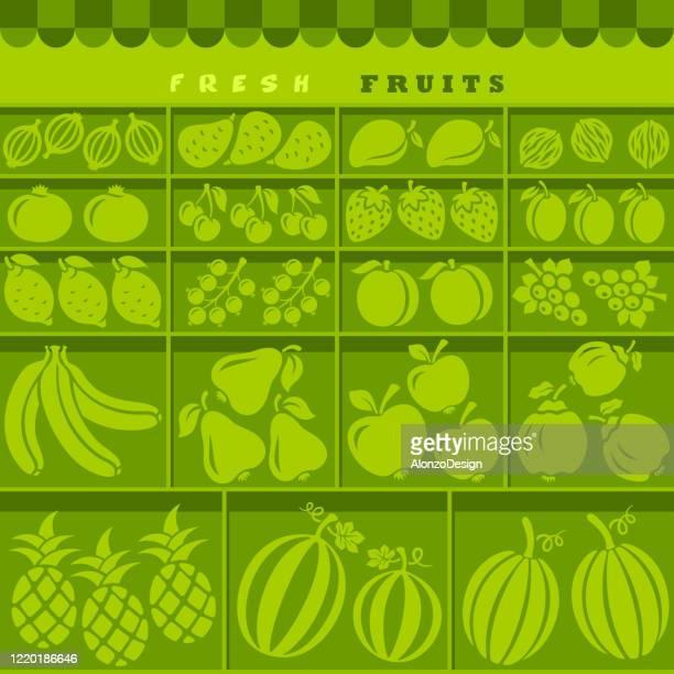 ilustraciones, imágenes clip art, dibujos animados e iconos de stock de stall del mercado de frutas saludables. - puesto de mercado