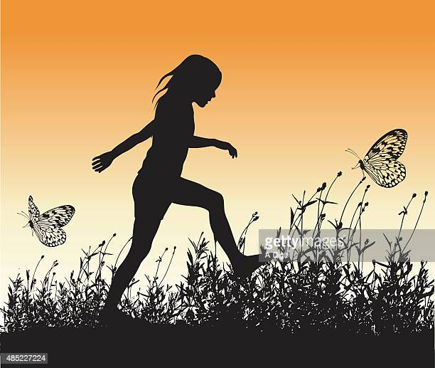 healthy girl and butterflies - one girl only stock illustrations, clip art, cartoons, & icons