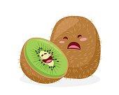 Healthy Happy Organic Kiwi Fruit Character Illustration