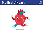 Healthy heart exercising. jogging and sweating. running Cartoon cute character icon vector illustration. healthcare medical concept.