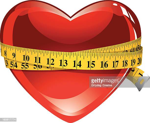 healthy heart & tape measure - tape measure stock illustrations