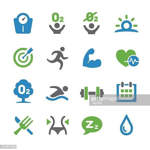 healthy life icons set - spry series - anaerobic stock illustrations, clip art, cartoons, & icons