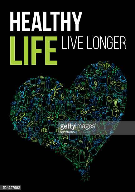 ilustrações, clipart, desenhos animados e ícones de cartaz de vida saudável - cardiovascular exercise