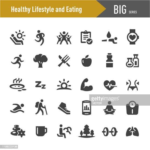 ilustraciones, imágenes clip art, dibujos animados e iconos de stock de iconos de estilo de vida saludable y alimentación - big series - estilo de vida saludable