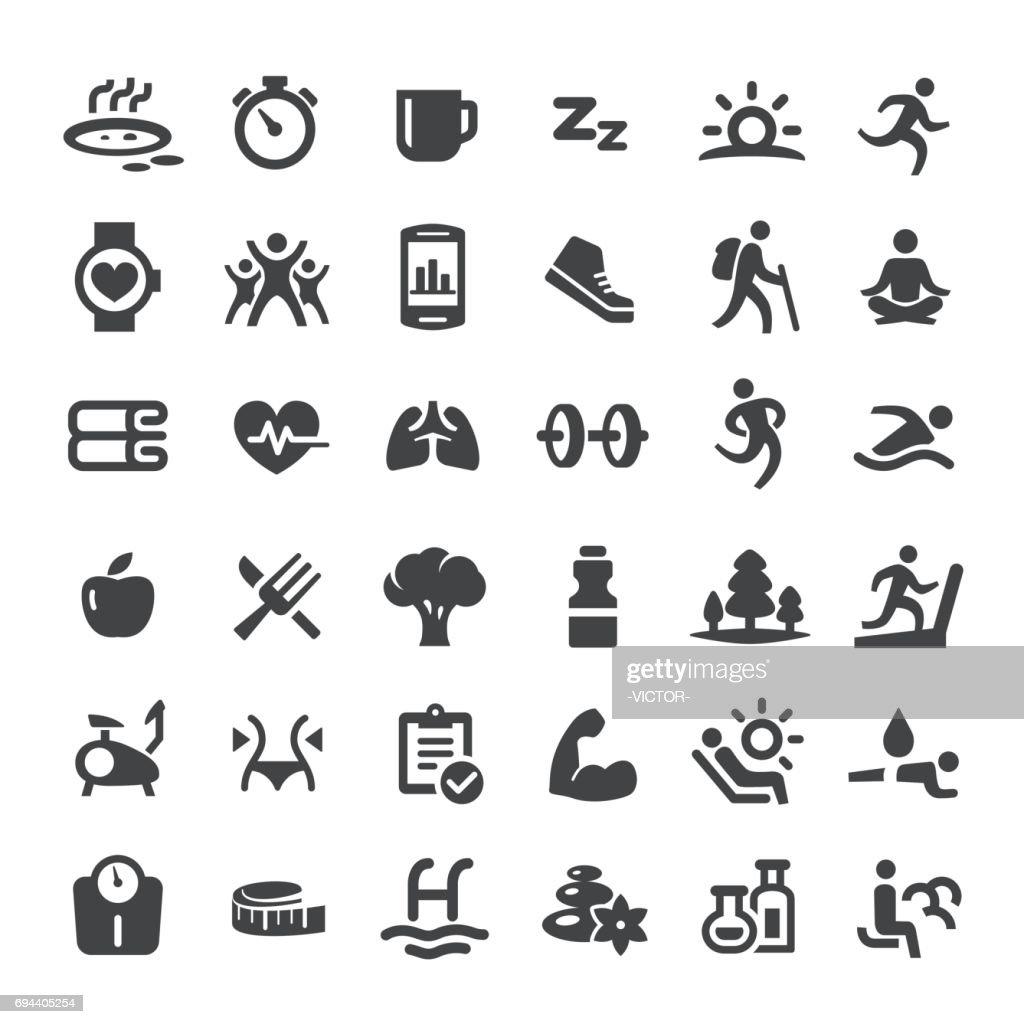 Estilo de vida saudável e comer ícones - série grande : Ilustração