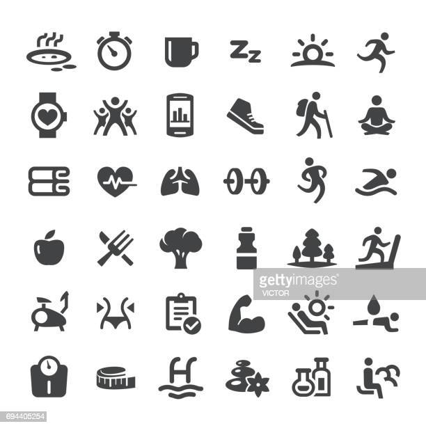 healthy lifestyle and eating icons - big series - healthy lifestyle stock illustrations