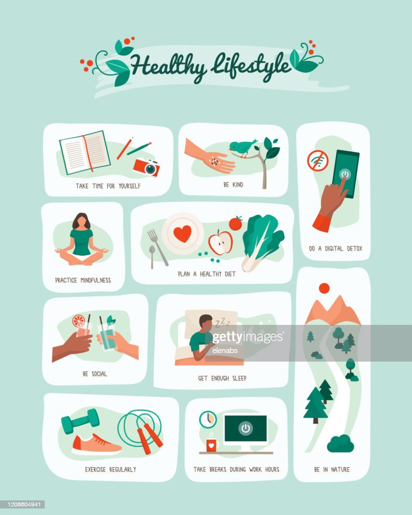 Healthy lifestyle and self-care infographic : stock illustration