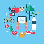 Healthy lifestyle app concept with flat modern icons