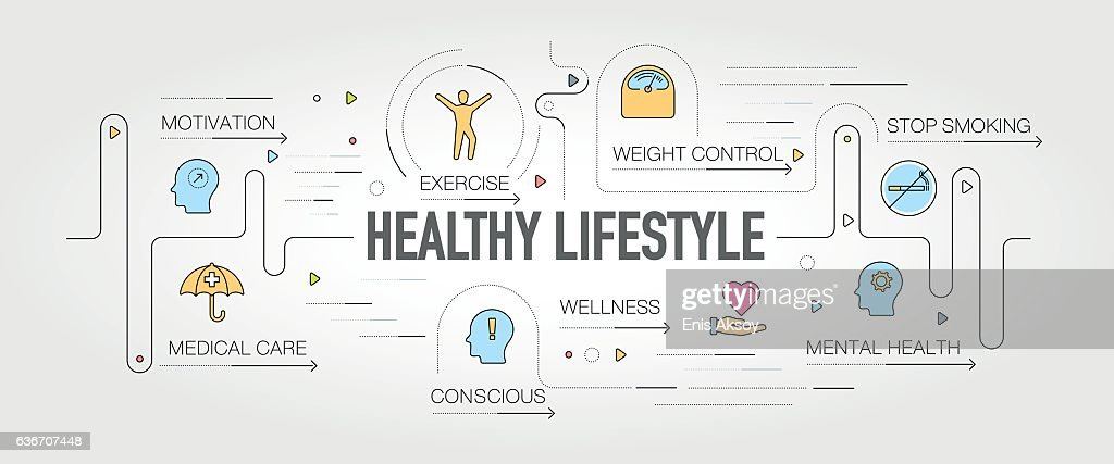 Healthy Lifestyle banner and icons : stock illustration