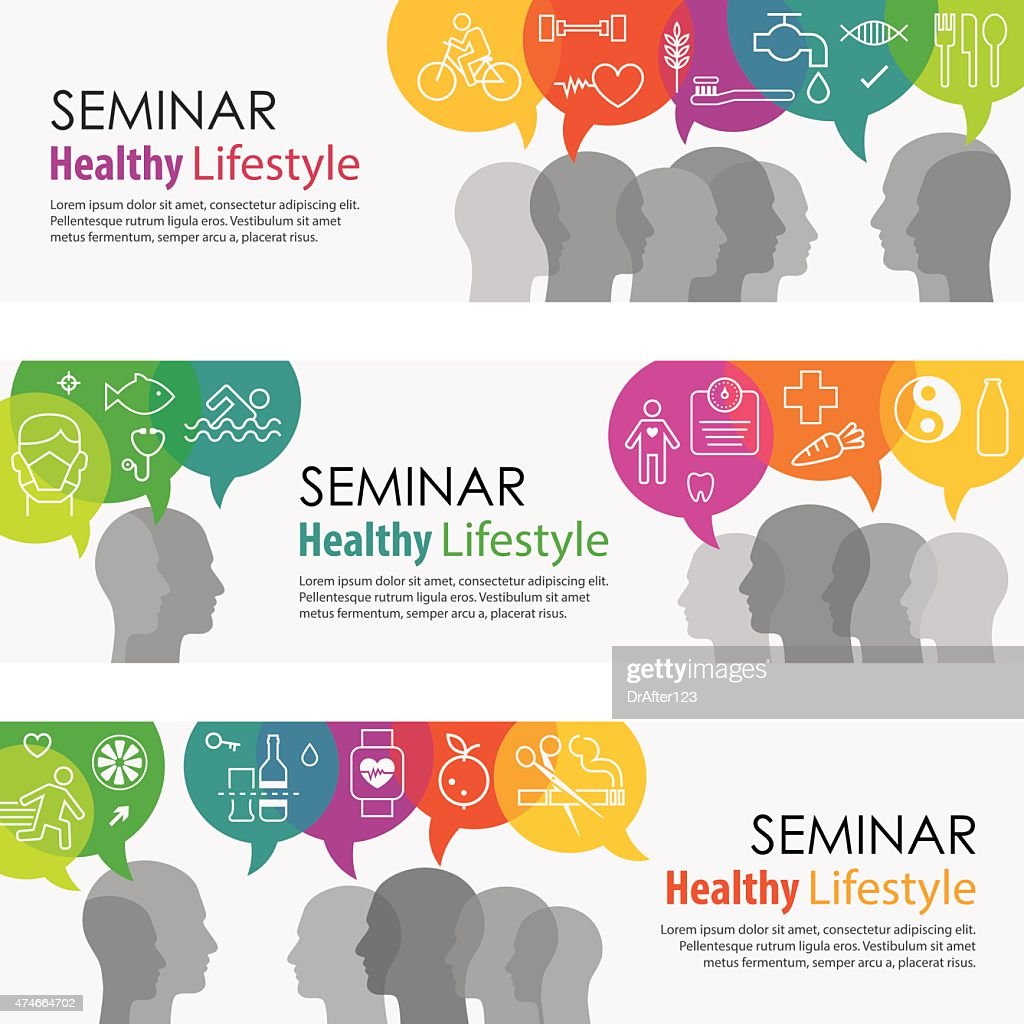 Healthy Lifestyle Banners And Icon Set : stock illustration